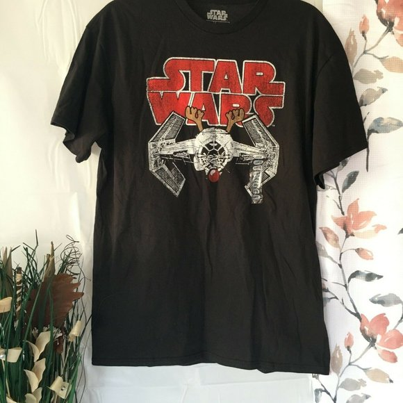 Star Wars Mens Size Large Black T Shirt Cotton Short Sleeves Crew Neck Casual